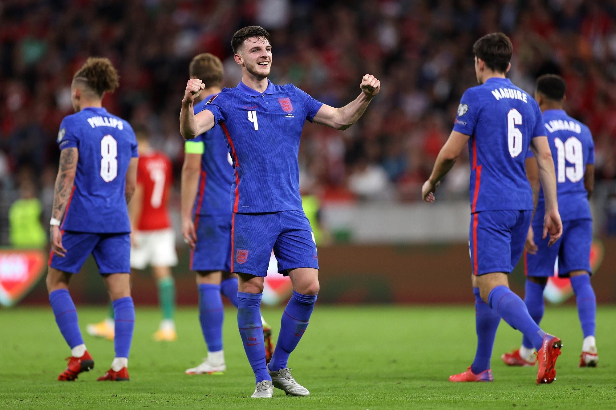 Eliminacje MŚ 2022. Anglia - Węgry. Declan Rice